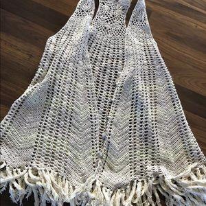 Free People crocheted fringe boho festival vest S
